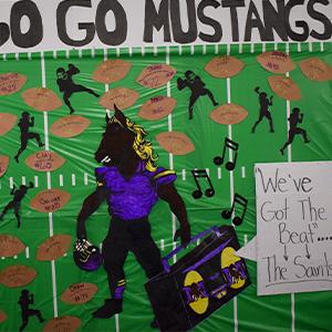 Mustangs homecoming board display