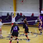 Girls returning volleyball back across the net
