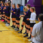 Girls HS volleyball team standing in a line