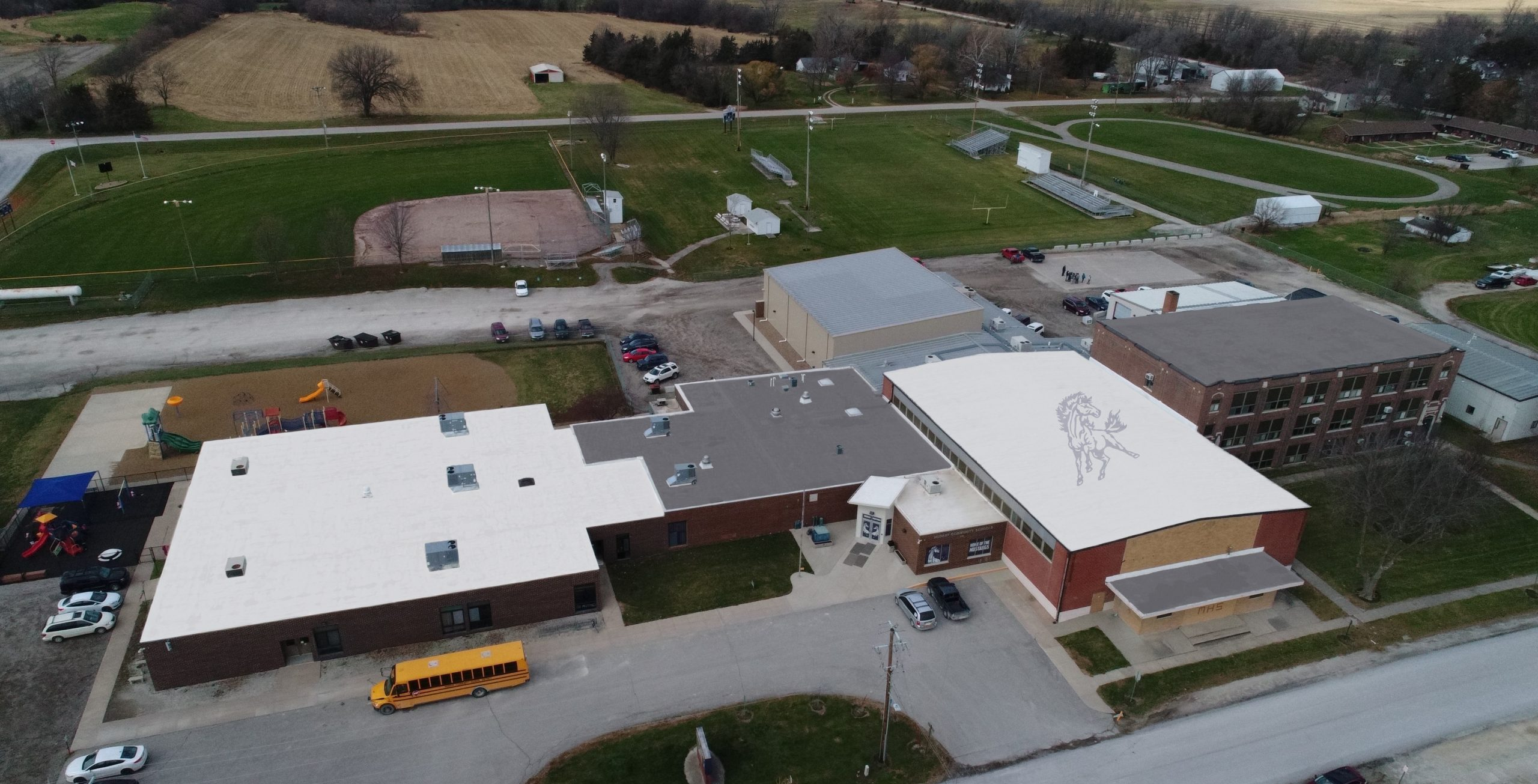 Aerial picture of the school and ball fields