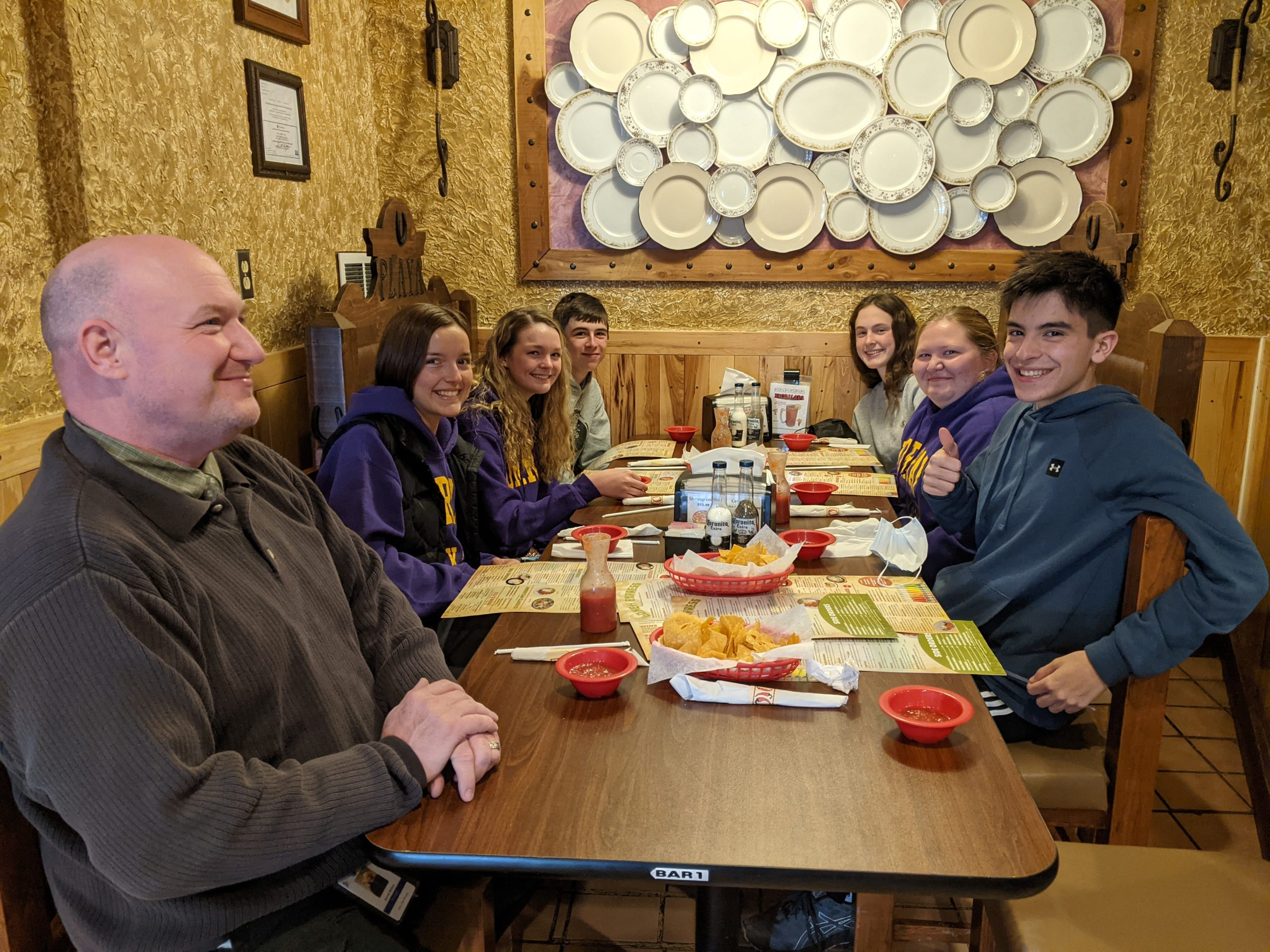 students at mexican restaurant