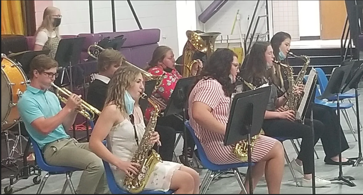 High School Band playing instruments