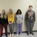 JH students dressed for pajama day