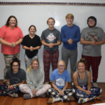 Seniors in pajamas for dress up day