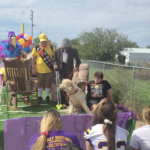 Sophomore float with characters from movie UP